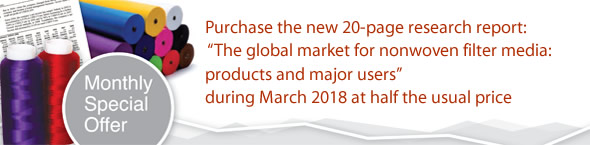 Offer: Purchase the new 20-page research report: 'The global market for nonwoven filter media: products and major users' during March 2018 at half the usual price.